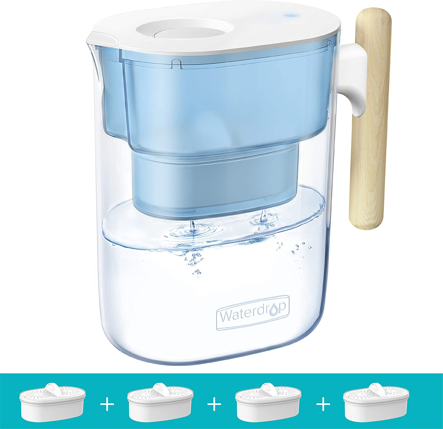 Waterdrop Chubby 10-Cup Water Filter Pitcher with 4 Filters, Long-Lasting (200 gallons), 5X Times Lifetime Filtration Jug, Reduces Lead, Fluoride, Chlorine and More, BPA Free, Blue