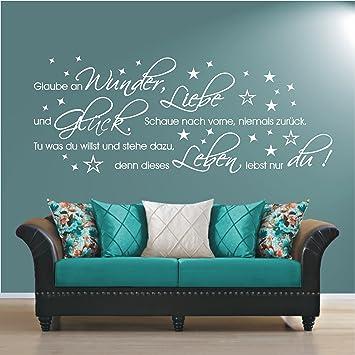 HomeTattoo ® WANDTATTOO Wandaufkleber Glaube An Liebe Wunder Glück Spruch  Wohnzimmer 469 ( L X B