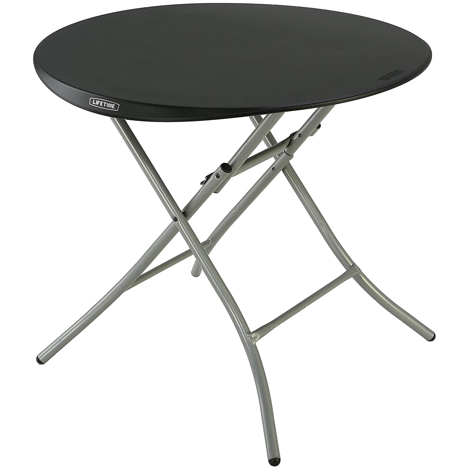 Lifetime Products 80351 Round Folding Table, 33 , Black