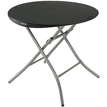 Lifetime Products 80351 Round Folding Table, 33u0026quot;, Black