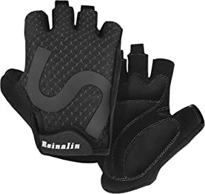 Reinalin Cycling Gloves, Bike Bicycle Gloves, Gym Gloves, Lightweight, 3MM Gel Pad, Shock-Absorbing, Anti-Slip, Breathable for Biking, MTB, Road Biking, Mountain Bike for Men Women
