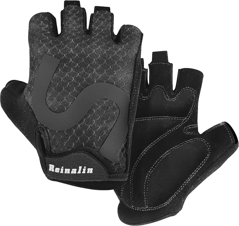 Reinalin Cycling Gloves Bike Gloves Bicycle Gloves Gym Gloves Lightweight 3MM Gel Pad Shock-Absorbing Anti-Slip Breathable for Biking MTB Road Biking Mountain Bike for Men Women : Clothing