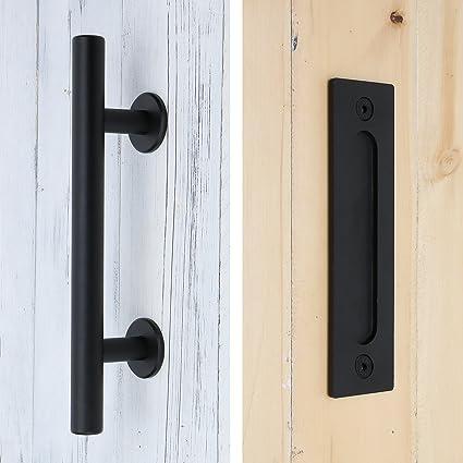 SMARTSTANDARD 12u0026quot; Pull and Flush Door Handle Set in Black Sliding Barn Door Hardware Handle & Amazon.com: SMARTSTANDARD 12