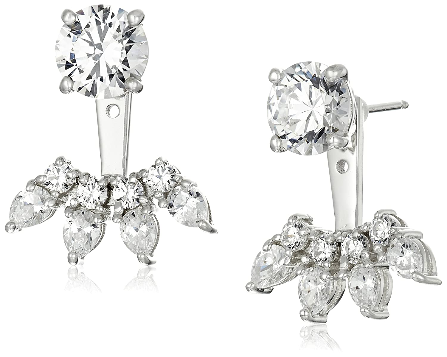 Platinum-Plated Sterling Silver Swarovski Zirconia Fashion Forward Earring Jackets Amazon Collection E2068601_120_000