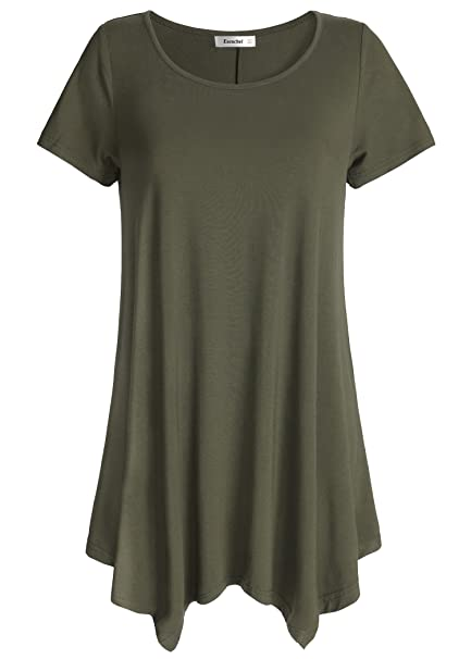 6e6540fb65ce Esenchel Women's Short Sleeve Tunic Shirt Loose Fit Leggings Top S Army  Green