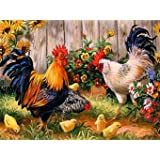AIRDEA DIY 5D Diamond Painting by Number Kit, Full Drill Rooster Hen Chicks Embroidery Cross Stitch Arts Craft Canvas Wall Decor