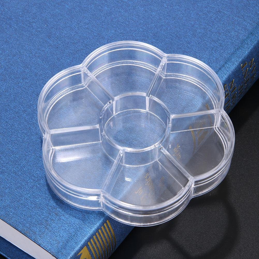 Domybest Clear Flower Shape Storage Box 7 compartments Beads Jewelry Pill Box Case