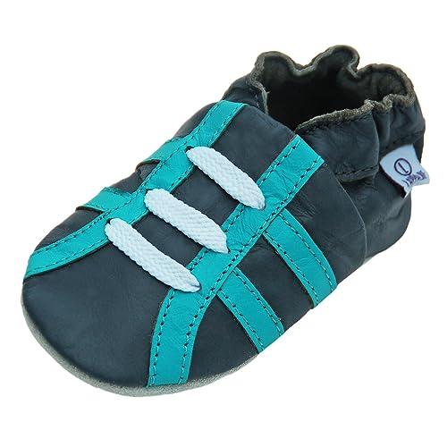 Pantofole Scarpine in Pelle Bambino Scarpe per Gattonare Baby Cuoio con  Suola in Gomma gr. 462d5a2894a