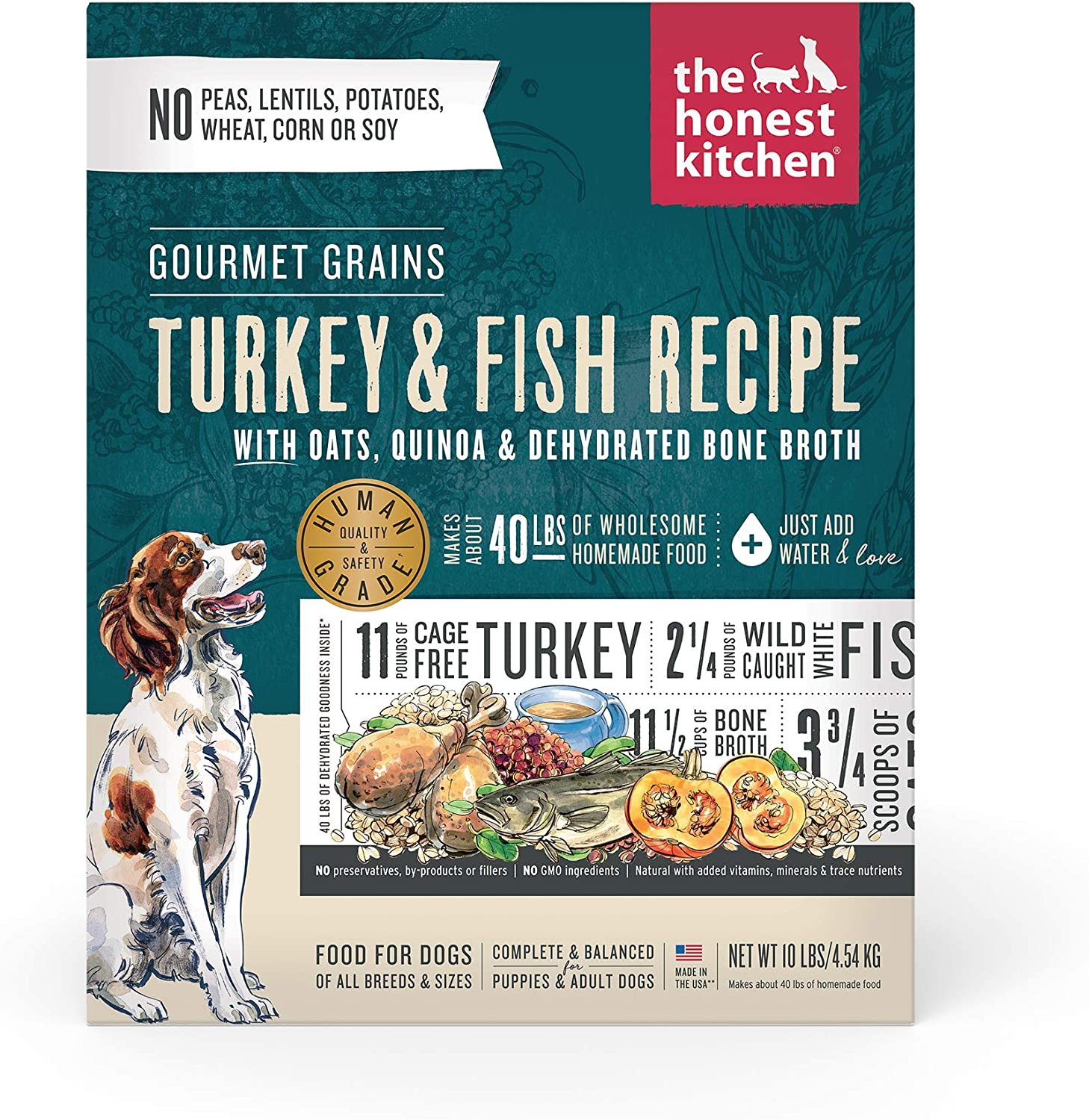 The Honest Kitchen Gourmet Grains Turkey & White Fish Recipe Dehydrated Dog Food, 10 lb box