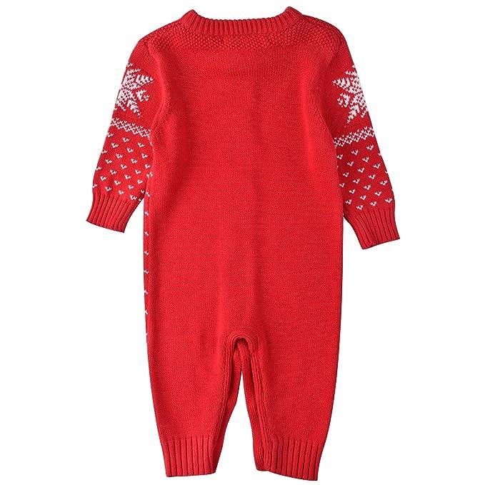 2e6cbe2892 Zoerea Unisex Neugeborenes Baby Strick Strampler Lange Ärmel Watte  Weihnachten warme Pullover mit Elch Hirsche Schneeflocke Muster Mantel für  die Saison ...