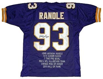 John Randle Autographed Jersey -  93 Stat W Hof 10 - JSA Certified -  Autographed 78a326a13