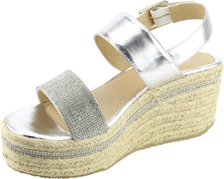 Cambridge Select Womens Slingback Open Toe Woven Crystal Rhinestone Braided Espadrille Platform Wedge Sandal