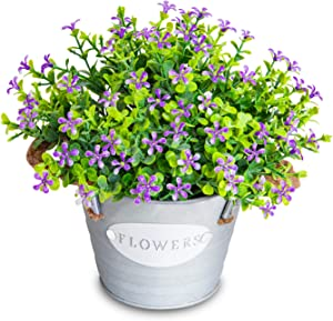 MIXROSE Artificial Plants Greenery Fake Eucalyptus Leaves with Flowers in Rustic Pots Artificial Flower Mini Potted Fake Plants Farmhouse Decor for Home Office Arrangement Indoor (Purple)