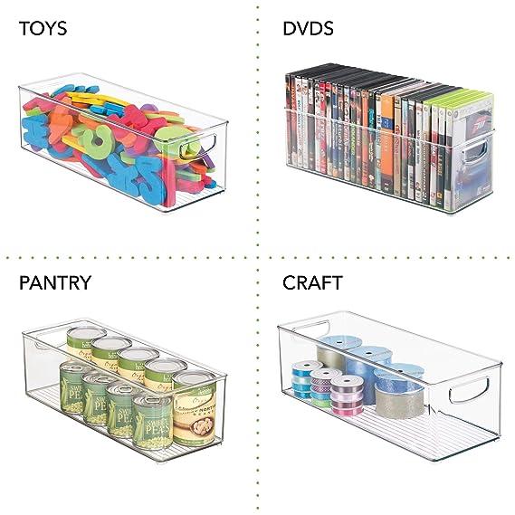 mDesign bandejas de plastico para CDs - Estanteria para CDs, DVD o videojuegos - Pack de 4 Porta CDs transparente con asas: Amazon.es: Hogar