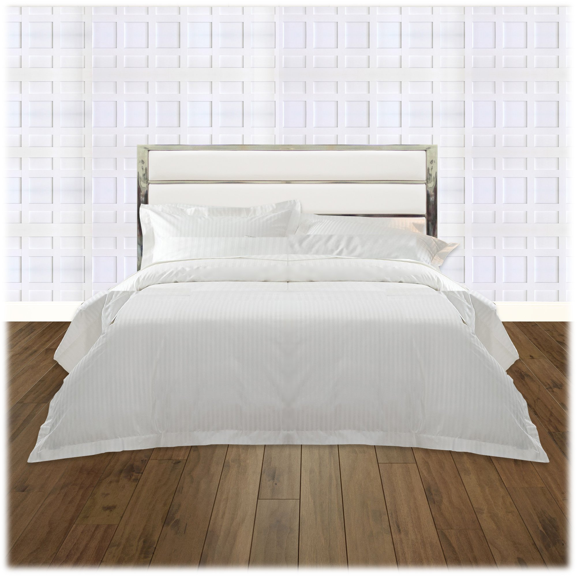 Fashion Bed Group B72526 Impulse Metal Headboard Panel with White Upholstery, Chrome Finish, King by Fashion Bed Group (Image #4)