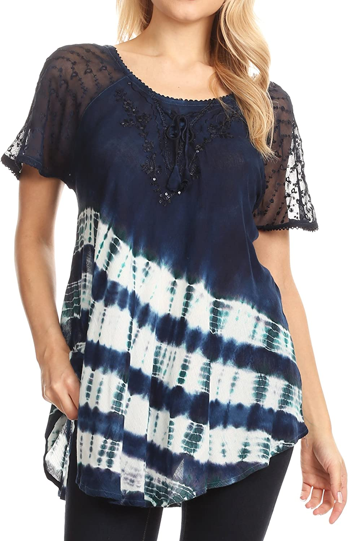 Sakkas Lulu Short Sleeve Summer Casual Fresh Blouse Top Lace Tie-dye & Corset