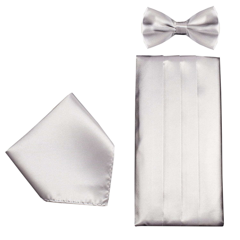 Mens Formal Cummerbund Set Bow Tie /& Pocket Square Classic Formal Gift Set in Multiple Colour