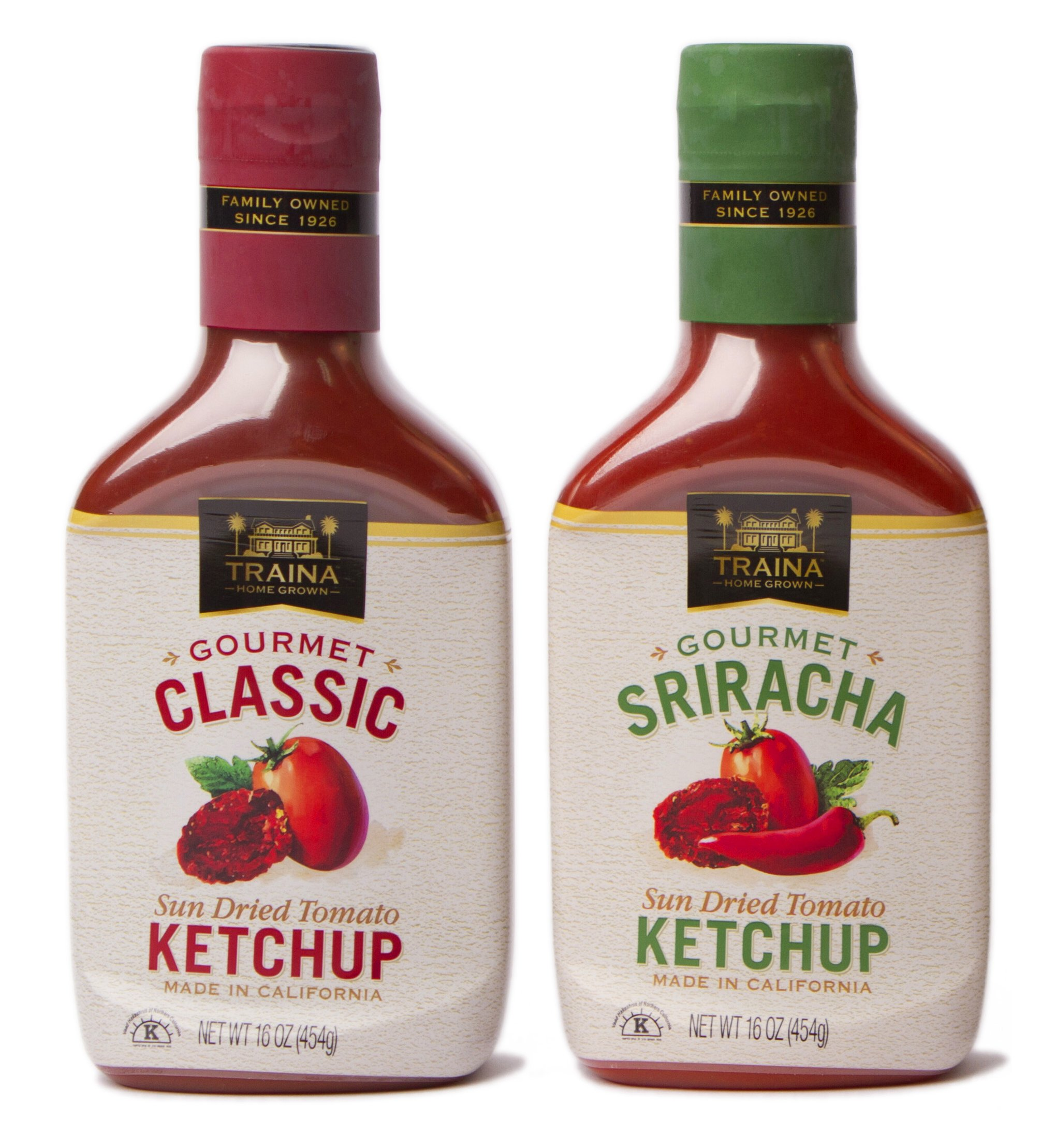 Traina Home Grown Sun Dried Tomato Ketchup Combo Pack - 1 Classic bottle 16 oz & 1 Sriracha bottle 16 oz