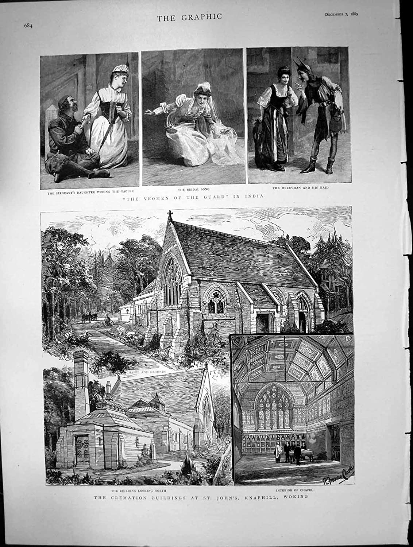 Old Original Antique Victorian Print Yeomen Guard India Cremation Buildings St Johns Woking 1889 249j680 Amazon Co Uk Kitchen Home