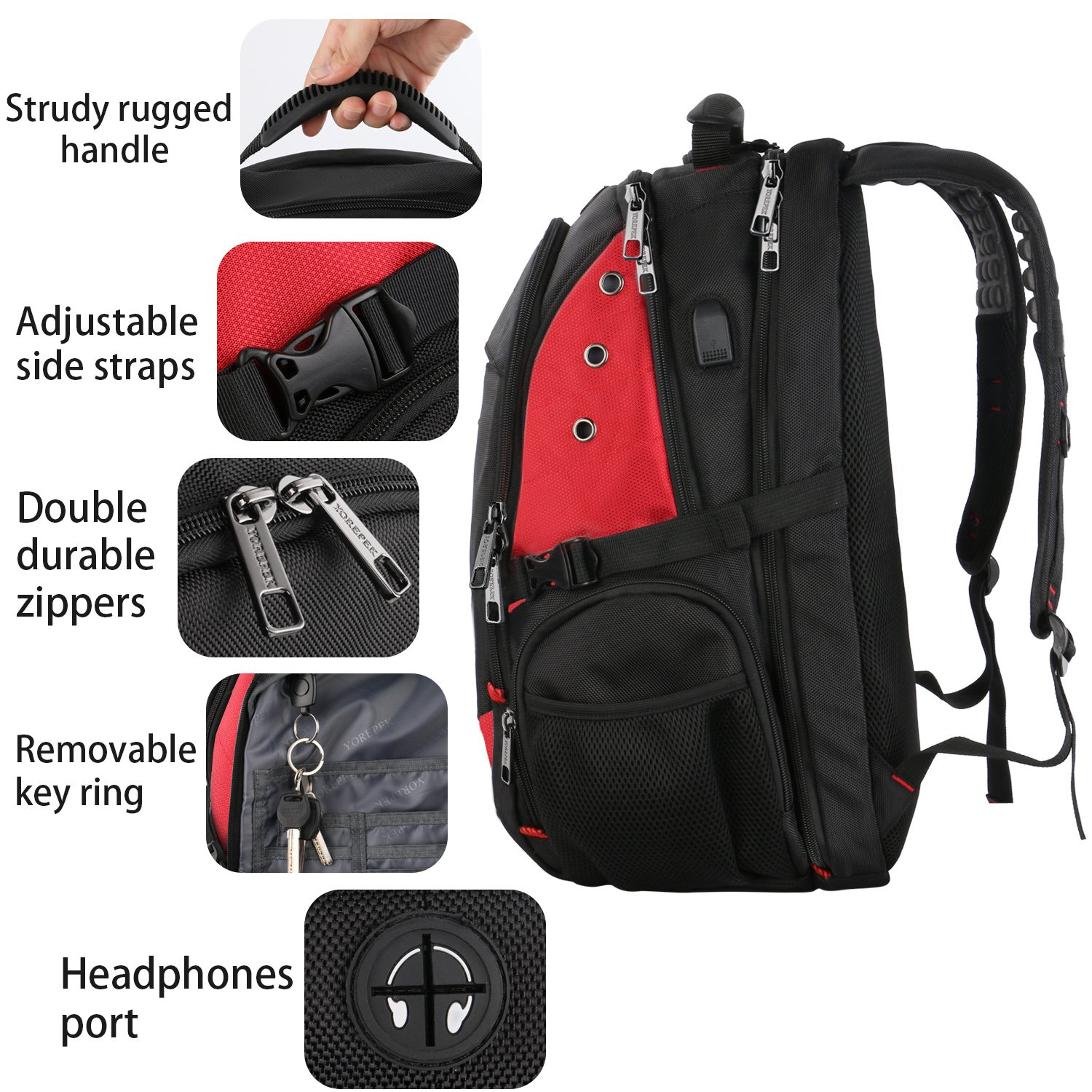 17 Inch Laptop Backpack,Extra Large Travel Backpacks with USB Charging Port for Business Women Mens, Large Capacity Bookbag for College School Student,TSA Friendly Water Resistant Computer Bagpack Red by YOREPEK (Image #6)