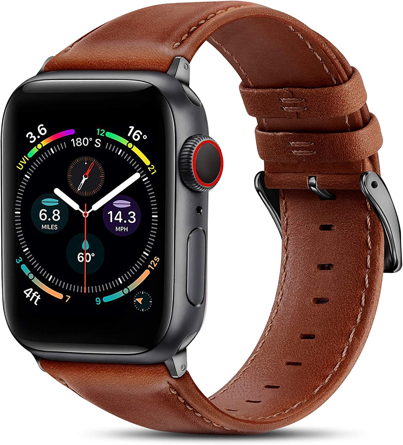BRG Leather Bands Compatible with Apple Watch Band 44mm 42mm 40mm 38mm, Men Women Replacement Genuine Leather Strap for iWatch SE Series 6 5 4 3 2 1