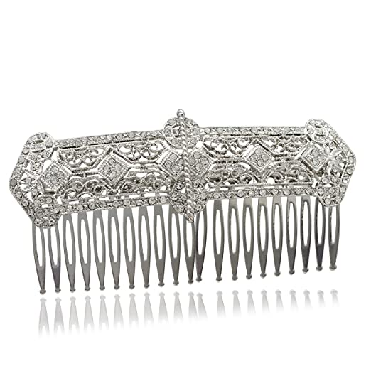 Vintage Hair Accessories: Combs, Headbands, Flowers, Scarf, Wigs Silver Bridal Wedding Rhinestone Crystals Palace Hair Comb Hair Jewelry Accessories XBY086 $12.80 AT vintagedancer.com