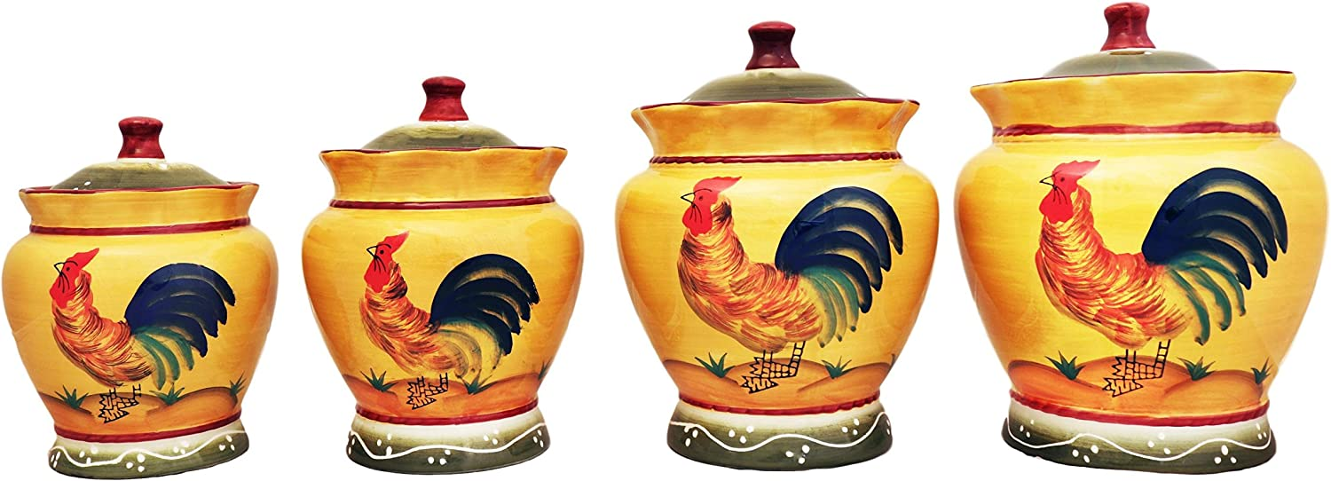 Tuscan Sunshine Country Rooster Canisters