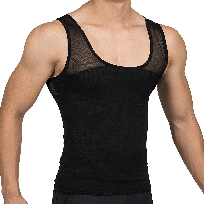 2077c48d10 DRSKIN Mens Slimming Body Shaper Vest Abdomen Chest Slim Shirt ...