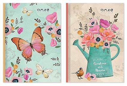 Agenda de 2018, vista semanal, diseño de mariposas o maceta ...