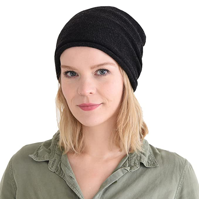 d04ef959385 CHARM Slouch Beanie Hat for Mens and Women - Baggy Slouchy Stretchy  ElasticWomens Cotton Chemo Hat Japanese Korean Fashion Men Style Black at  Amazon Men s ...