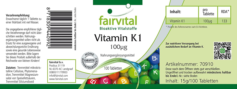 fairvital - 100 comprimidos de vitamina K1-100 mcg: Amazon.es: Salud y cuidado personal
