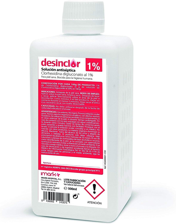 Solución Acuosa Coloreada Clorhexidina 1%, Limpieza de Manos, Desinfección Cuerpo, Piel Sana - 500 ml