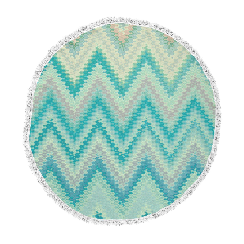 Kess InHouse Nika Martinez Seventies Emerald Chevron Green Abstract Round Beach Towel Blanket