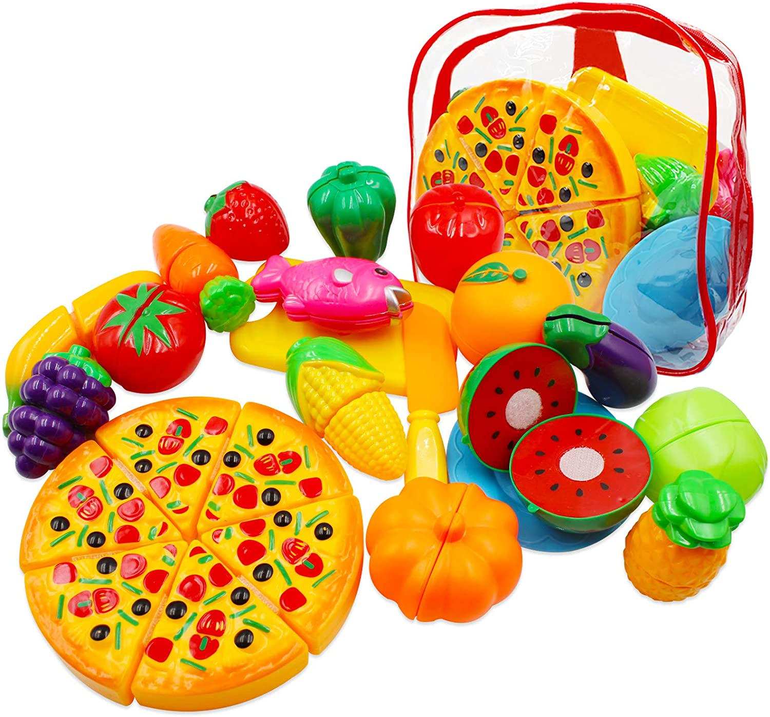 UBITREE Pretend Play Food Toys for Kids Kitchen, 25pcs Cutting Fruits Vegetables Pizza Toy Set with Storage Backpack, Early Educational Toy for Toddlers Children Birthday Gift Party Favor