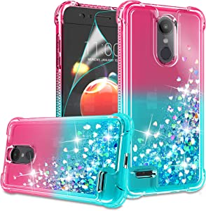 Compatible with LG Aristo 2/Aristo 3/Aristo 2 Plus/Tribute Dynasty/Fortune 2/Risio 3/Zone 4 Case with HD Screen Protector for Girls, Gritup Cute Glitter TPU Phone Case for LG K8 2018 Pink/Teal