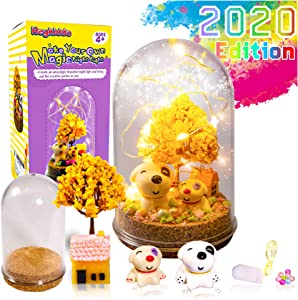 HeyKiddo Make Your Own Magic Night Light - Fairy Lantern Craft Kit for Kids, Arts and Crafts Nightlight Project Novelty for Girl Age 4 5 6 7 8 9 Year Old, DIY Decorative lamp Set for Room Decor