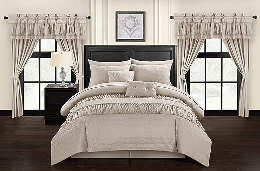 Amazon.com: Chic Home Mykonos 20 Piece Comforter Set, King, Taupe