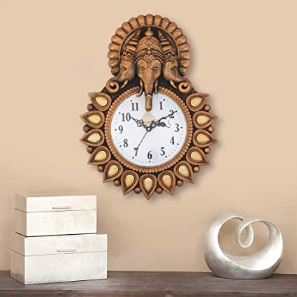 Webelkart Designer Stones Lord Ganesha Plastic Wall Clock for Home/Living Room/Bedroom/Kitchen- (Copper-12 Inch)