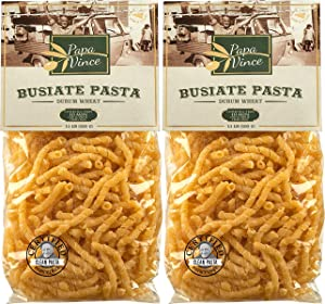 Papa Vince Clean Pasta Sensitive Stomach - made with wheat from Sicily, Italy   NON GMO   WHOLE GRAIN   NO ENRICHED   LOW ACID   AL DENTE Busiate macaroni holds sauce like a magnet (1.1 lb 2-Pack)