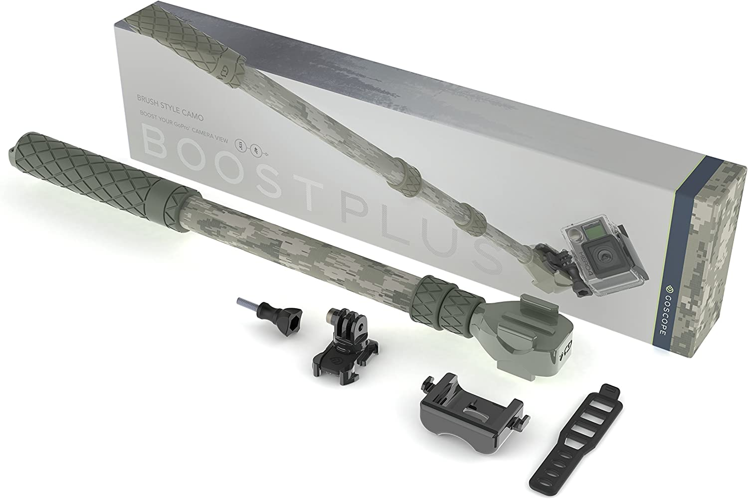 Monopod for GoPro/® Cameras Expands 17.5 out to 40 Telescoping Extension Pole GoScope BOOSTplus Brush Camo