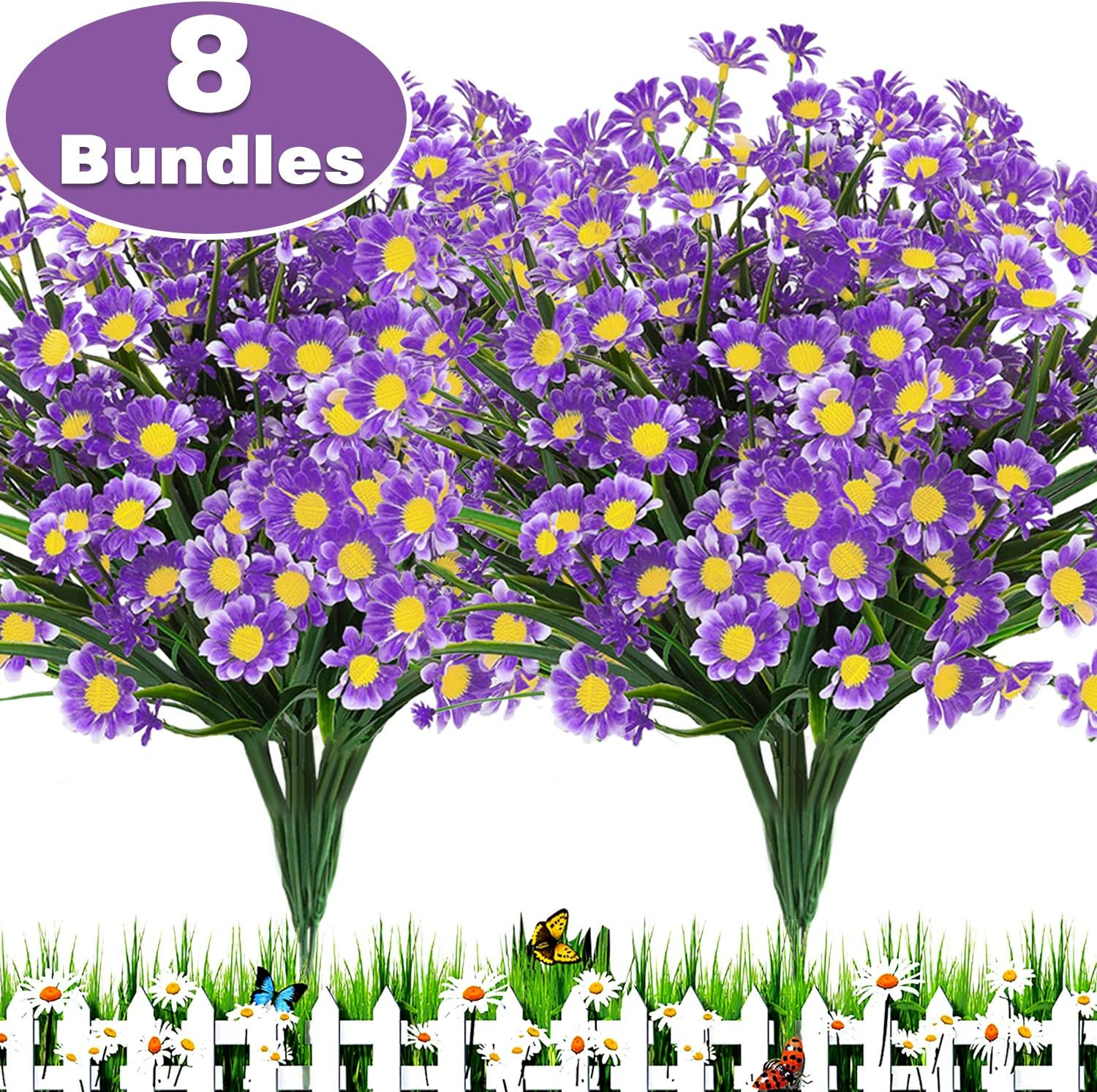 TURNMEON 8 Bundles Artificial Flowers UV Resistant Outdoor Decoration-Faux Plastic Daisy Greenery Shrub Plant Indoor Outside Hanging Planter Wedding Home Garden Office Window Box Hanging Décor(Purple)