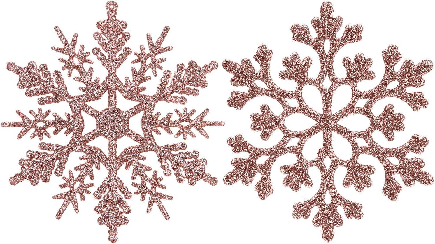 Sea Team Plastic Christmas Glitter Snowflake Ornaments Christmas Tree Decorations, 4-inch, Set of 36, Blush Gold