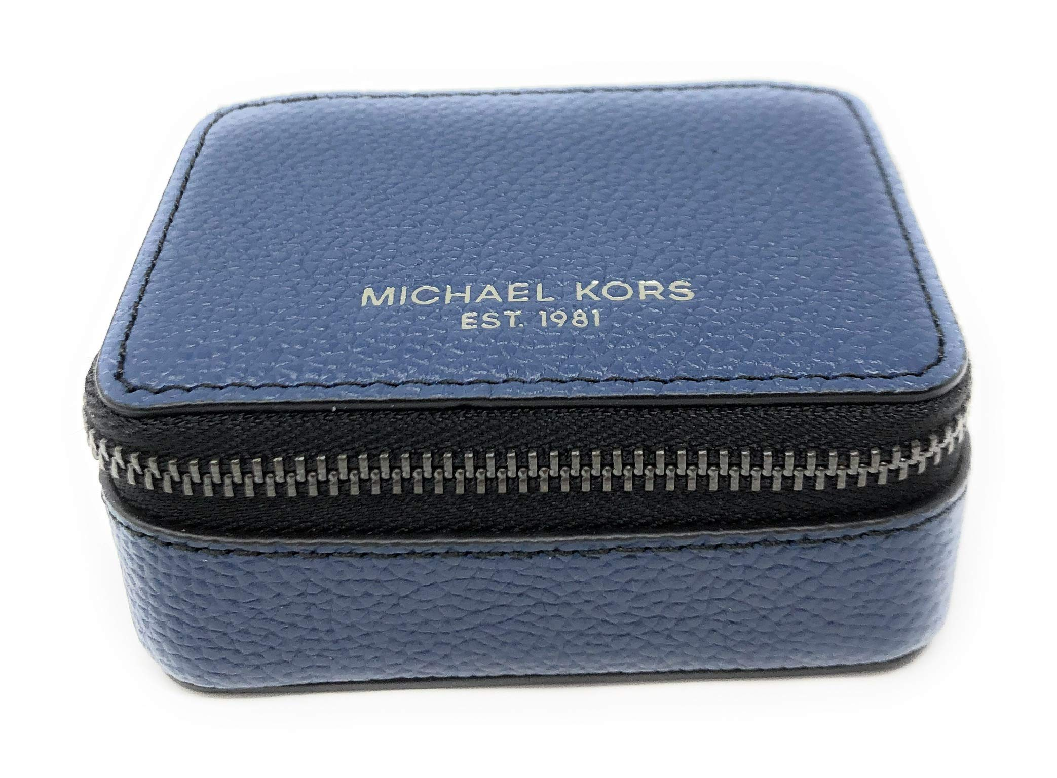 Michael Kors Pill Organizer Travel Pill Case Box Pebbled Leather Indigo Navy by Michael Kors