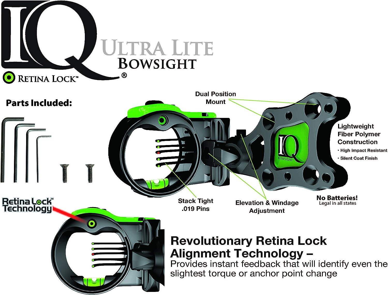 IQ Bowsights 3-Pin Ultra Lite Bowsight with Retina Lock Technology,Right Hand