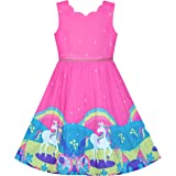 Girls Dress Purple Sunflower Green Leaves Butterfly Size 4-12 Years