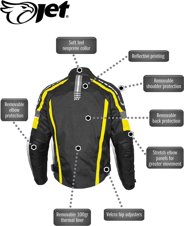 EU 52-54 , Azul JET Chaqueta Moto Hombre Textil Impermeable con Protecciones Alto Rendimiento DAYTONA XL