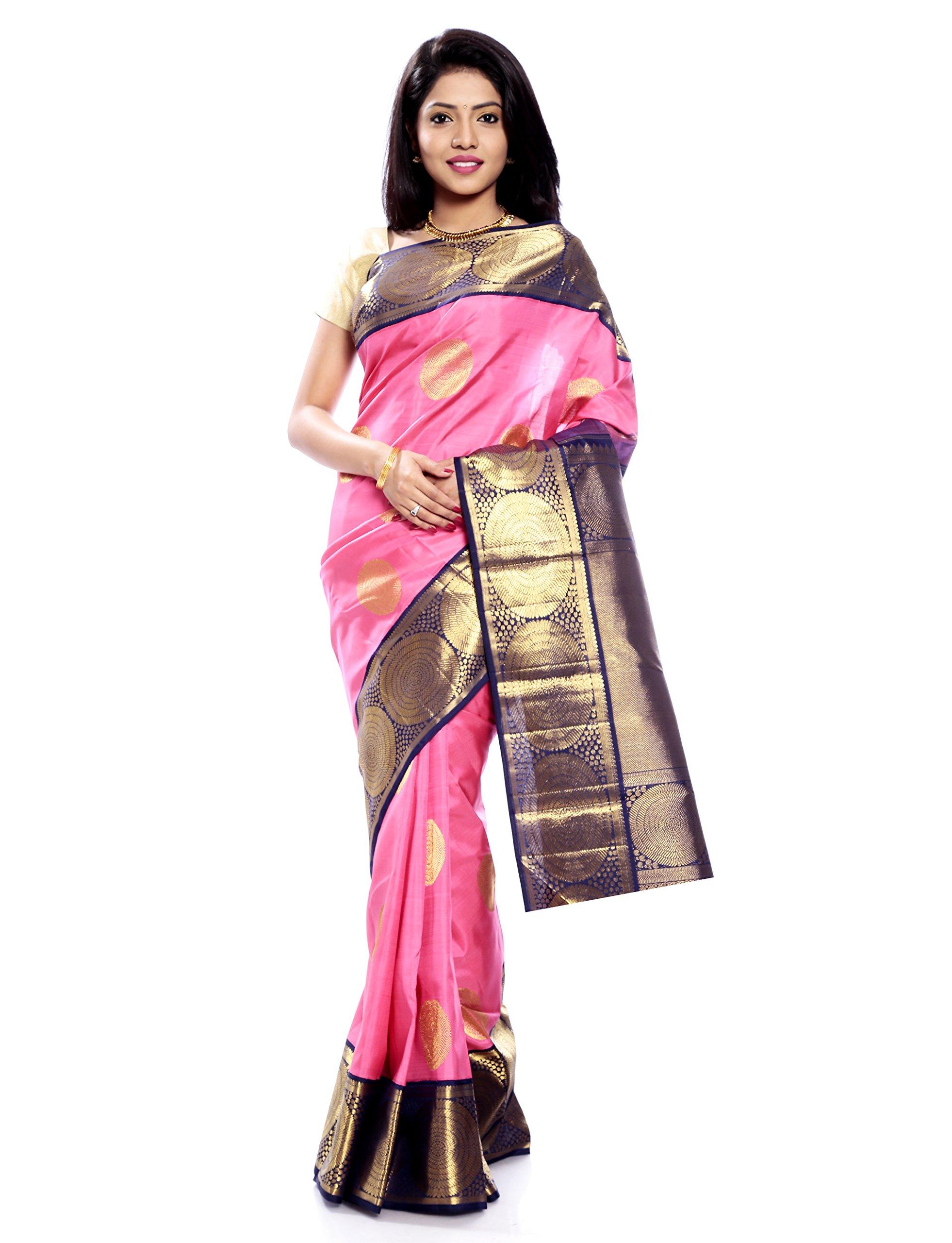 Mandakini — Indian Women's Kanchipuram - Handloom - Pure Zari & Pure Silk Saree (Pink ) (MK208)