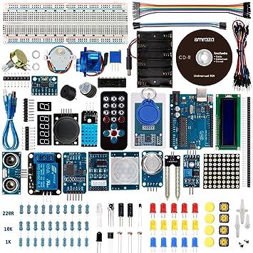 smraza Kit de iniciación para Arduino con uno r3, Breadboard, cables, cable USB