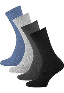 pack de 8 Calcetines lisos sin goma o elástico algodón para hombre, Calcetines diabéticos