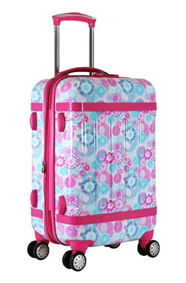 1a96db9580f9 J World New York Taqoo Polycarbonate Carry-on Spinnger Luggage, Blue  Raspberry, One Size